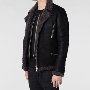 ALLSAINTS Sears Suede Shearling Leather Jacket XS